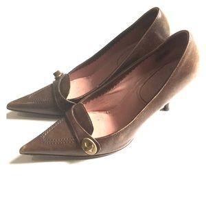 Miu miu pointed brown heels leather cute work pump
